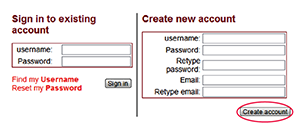 Create Account  Screenshot